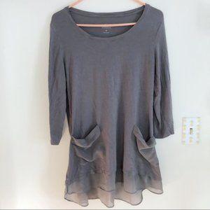 LOGO by Lori Goldstein Grey Long Sleeve Dress sz M